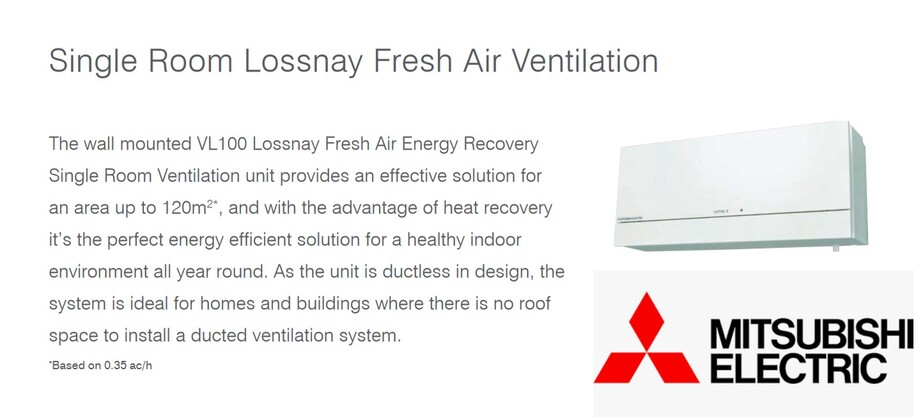 mitsubishi electric lossnay vl100 ventilation system
